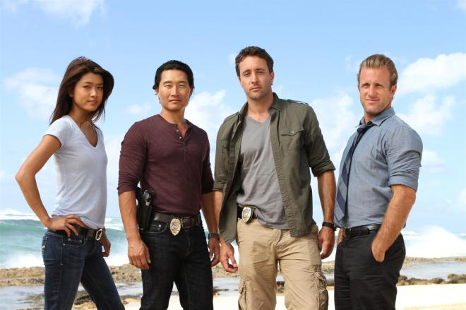 """Ho' ohuli Na' au""-- Five-0 (left to right: Grace Park, Daniel Dae Kim, Alex OíLoughlin, Scott Caan) focuses on several key suspects when world-renowned photographer Renny Sinclair is murdered while on assignment in Hawaii shooting the annual swimsuit edition of a top sports magazine, on HAWAII FIVE-0, Monday, May 2 (10:00-11:00 PM, ET/PT) on the CBS Television Network.  Photo: MARIO PEREZ/CBS ©2011 CBS BROADCASTING INC. All Rights Reserved"